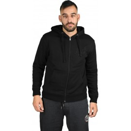 ZIP THROUGH HOODY-RAISED EMBRO A8-083-2-099 black