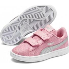 Παιδικά Αθλητικά Παπούτσια Puma Smash V2 Glitz Glam V Ps 367378-15 Peony / Puma Silver / Puma White