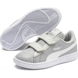 Παιδικά Αθλητικά Παπούτσια Puma Smash V2 Glitz Glam V Ps 367378-17 Glittered Grey-White