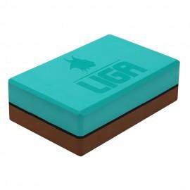 Τουβλάκι Yoga δίχρωμο (Two-color Yoga block) (πράσινο/καφέ) LIGASPORT*